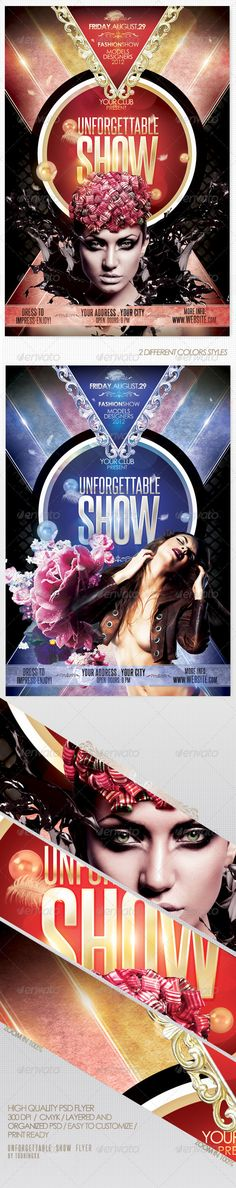 Unforgettable Show Flyer Template / $6. *** This flyer is perfect for the promotion of Fashion Events, Club Parties, Musicals, Festivals, Concerts or Whatever You Want!. ***