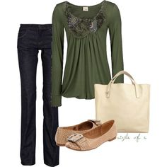 Embellished Dark Green Top, created by styleofe on Polyvore