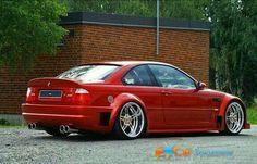 BMW E46 M3 red widebody deep dish