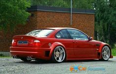 BMW E46 M3 red widebody deep dish