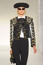 MOSCHINO Black Embroidered Sequin Beaded Bells Fringe Jacket Coat 44 8