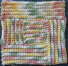 Best Free Crochet » #168 Log Cabin Crochet Dishcloth – Maggie Weldon Maggies Crochet