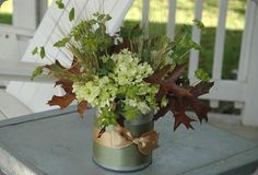 Green, White, Brown- Fall/green hydrangea, bupleurum, wheat and oak leaves