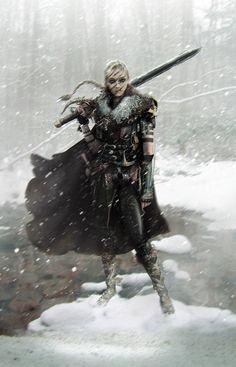 Hanna - King's daughter Picture  (2d, fantasy, illustration, girl, woman, warrior, portrait, snow)