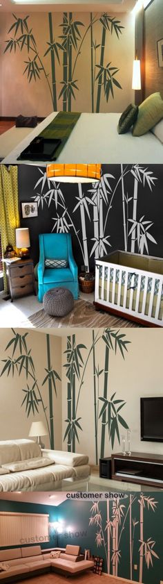 Decals Stickers and Vinyl Art 159889: Bamboo Tree Wall Decal Inspiration Vinyl Living Room Removable Art Mural Decor -> BUY IT NOW ONLY: $35.9 on eBay!