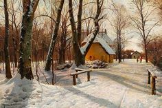 Peder Mønsted: Winter day on the outskirts of the