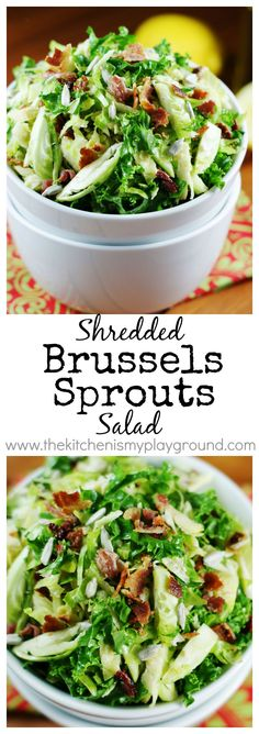 Shredded Brussels Sprouts Salad ~ fresh Brussels sprouts and kale with maple vinaigrette make for one surprisingly fabulous salad.   www.thekitchenismyplayground.com