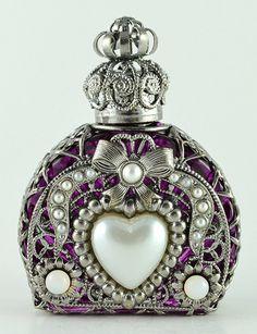 Vintage Hand Made Silver Tone Filigree Perfume Bottle