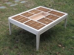 Custom handmade cherry wood coffee table for displaying collections of seashells, jewelry, coins, and other keepsakes - shipping crates Cherry Wood Coffee Table, Made Coffee Table, Coffee Table With Drawers, Large Coffee Tables, Seashell Display, Printers Drawer, Crate Shelves, Shipping Crates, Wood Crates