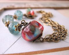 jewelry Lampwork glass bracelet red green http://etsy.me/t9kWpi