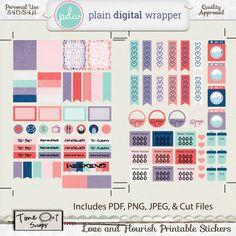 Love and Flourish Printable Stickers- PU/S4H/S4O #plaindigitalwrapper #pdw #scrapbook #digitalscrapbook #digital #timeoutscraps #memory #photography #love #planner #stickers #plannerstickers