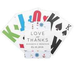 Thank You - Nautical Pattern Marine Pattern Bicycle Playing Cards - thank you gifts ideas diy thankyou