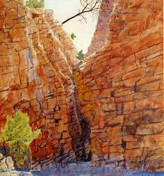Albert Namatjira, Redbank Gorge, MacDonnell Ranges, Central Australia c 1936-37 Aboriginal Artists, Aboriginal Artwork, Aboriginal History, Australian Painting, Australian Artists, Dot Painting, Art For Art Sake, Landscape Paintings, Cool Paintings