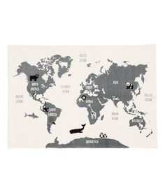 Check this out! Rectangular rug in cotton fabric with a printed world map motif on upper side. Non-slip protection at back. - Visit hm.com to see more.