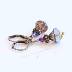 Brass Earrings Saturn Czech Glass Beads Swarovski Crystals