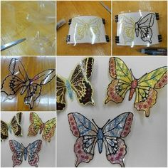 diy-plastic-bottle-butterflies led lights would be awesome behind these DIY Glitter Butterfly from Plastic Bottles - Easy plastic bottle butterfly craft project How to Make Glitter Butterfly from Plastic Bottles tutorial and instruction: for the garden Le Plastic Bottle Flowers, Plastic Bottle Crafts, Recycle Plastic Bottles, Garden Crafts For Kids, Kids Crafts, Craft Projects, Arts And Crafts, Diy Pet, How To Make Glitter