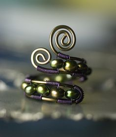Copper Wirework Ring - Forest Green Peacock Freshwater Pearl with Gunmetal & Purple Copper- Adjustable Caterpillar Design by Moss & Mist Jewelry by Moss & Mist Jewelry, via Flickr