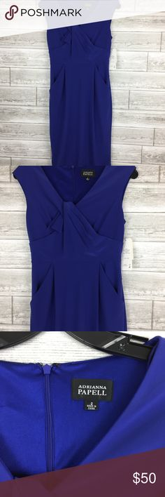 """NEW Adrianna Papell Sheath Dress 2 Blue Wiggle Kne NEW Adrianna Papell Sheath Dress 2 Blue Wiggle Knee Sleeveless Pockets A42-14  16"""" Pit to pit 26"""" Waist 32"""" Hip 37"""" Length Snags on the inside of the dress. Cannot be seen outside Adrianna Papell Dresses Midi"""
