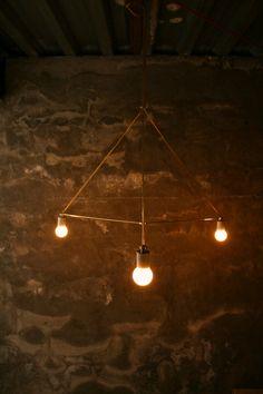 Chandelier Lighting Hanging Lamp Minimal Geometric Modern Brass (Luke Lamp Co)