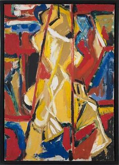 "Judith Godwin, Yellow Figure, oil on canvas, 40 ¼ x 28 ½,"" 1953"