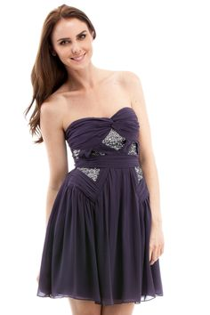 Shoptiques — Silver Sequin Peekaboo Strapless Dress