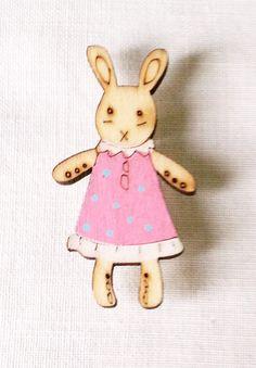 Maize Hutton- Little wood Bunny Brooch