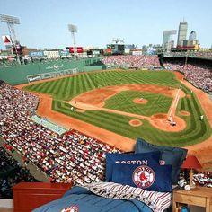 Fenway park famous landmark of boston from the citgo for Baseball stadium mural wallpaper