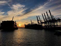 Sonnenuntergang Hamburg Hafen Walthershof