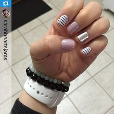 Amazing galleries and videos about beauty! Metallic Nails, Silver Glitter, Jamberry Nail Wraps, Jamberry Combos, Best Nail Salon, Chevron Nails, Salon Services, Paws And Claws, Hair Skin Nails