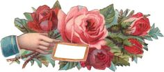 Victorian Hand with Roses Label