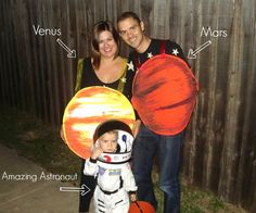 Family Space Themed Costumes, toddler halloween costume, see the back and more pics at www.yesterdaysuede.com astronaut costume #astronautcostume #toddlercostume #outerspace