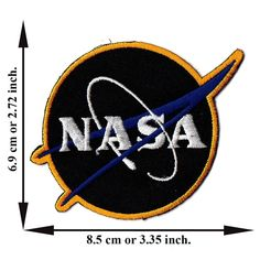 'NASA Logos Black Patch' Iron on Patch 2.72'x3.35' Appliques Hat Cap Polo Backpack Clothing Jacket Shirt DIY Embroidered Iron on / Sew on Patch * See this great product.