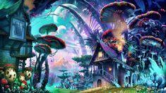 HD wallpaper: art, mushrooms, mushroom house, tree, psychedelic art, graphics