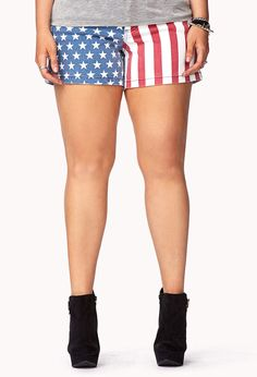 "Star-Spangled Denim Shorts  $22.80  Cute #plus size american flag shorts.  Great if you want to go patriotic on the 4th of July, or to get that trendy ""Tumblr Girl"" look.  :)"