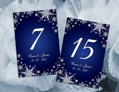 DIY Printable Wedding Table Number Template   Editable MS Word file   4 x 6   Instant Download   Winter White Snowflakes Royal Blue