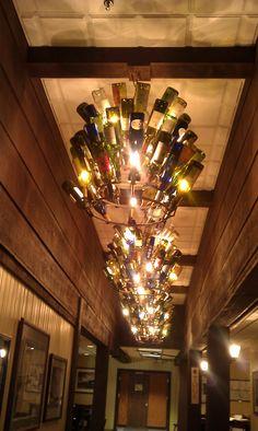 Wine bottle chandeliers at Firelands Winery, Sandusky, Ohio Ohio Attractions, Wine Bottle Chandelier, Sandusky Ohio, The Buckeye State, In Vino Veritas, Lake Erie, Bottles And Jars, Crafty Craft, Bar Ideas
