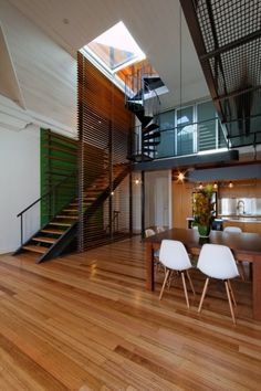 like green wall behind stair