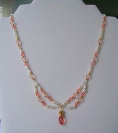 Rose Peach Swarovski and Ivory Shell Pearl Pendant Necklace