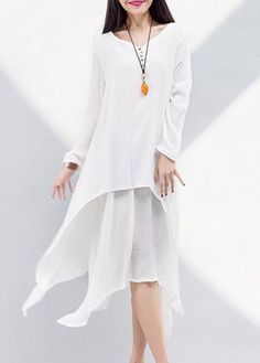 Long Sleeve White Asymmetric Faux Two Piece Dress on sale only US$27.32 now, buy cheap Long Sleeve White Asymmetric Faux Two Piece Dress at lulugal.com