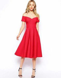 ASOS red bardot prom dress