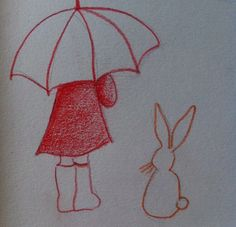 """(c)AP """"Emilie et lapin""""crayon d ecouleur"""