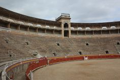 Inside the bull ring in Palma de Mallorca.  They are quick to point out that it is not used every Sunday anymore. Bull fights are still held 4 times a year.