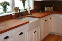 Cutting board counter top with with under counter farm sink @Alyssa Manfull