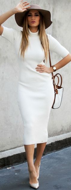 White long Sweater Dress Fall Streetstyle Inspo women fashion outfit clothing stylish apparel @roressclothes closet ideas