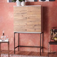 Reclaimed Wood + Lacquer Bar Cabinet