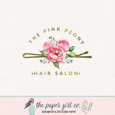 hair clip logo hair stylist logo hair salon logo by ThePaperGirlCo