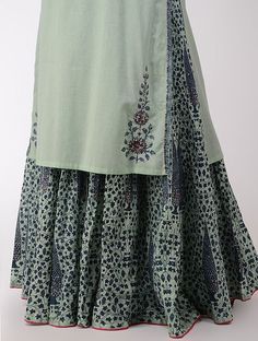 Green Block-printed Cotton Kurta with Sequins