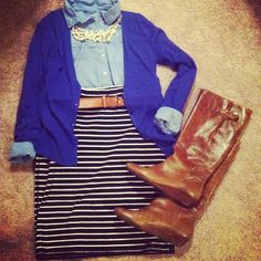 Striped skirt, denim shirt, colored cardigan, short/chunky necklace, boots.
