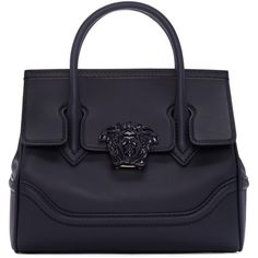 Versace Navy Medium Medusa Bag (46 850 UAH) ❤ liked on Polyvore featuring bags, handbags, shoulder bags, bolsas, versace, purses, navy, navy blue purse, navy purse and studded purse