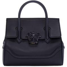 Versace Navy Medium Medusa Bag (40,365 MXN) ❤ liked on Polyvore featuring bags, handbags, shoulder bags, kdnjo deep navy, navy shoulder bag, zip purse, navy blue handbags, versace and studded shoulder bag